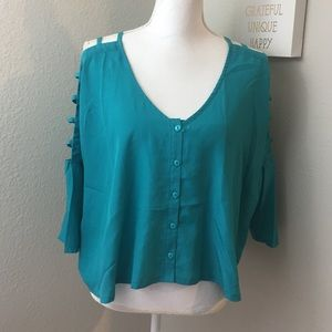 Ali & Kris Teal Ladder Sleeve Flowy Top